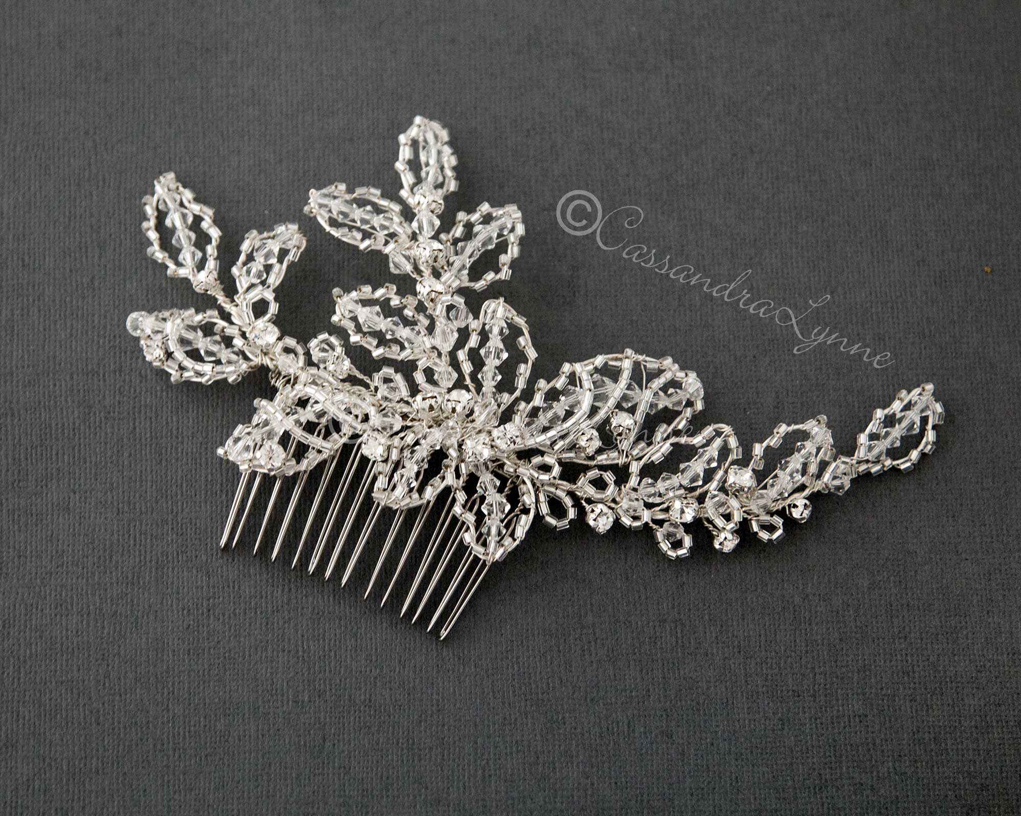 Wedding Hair Comb of Silver Beads and Crystals