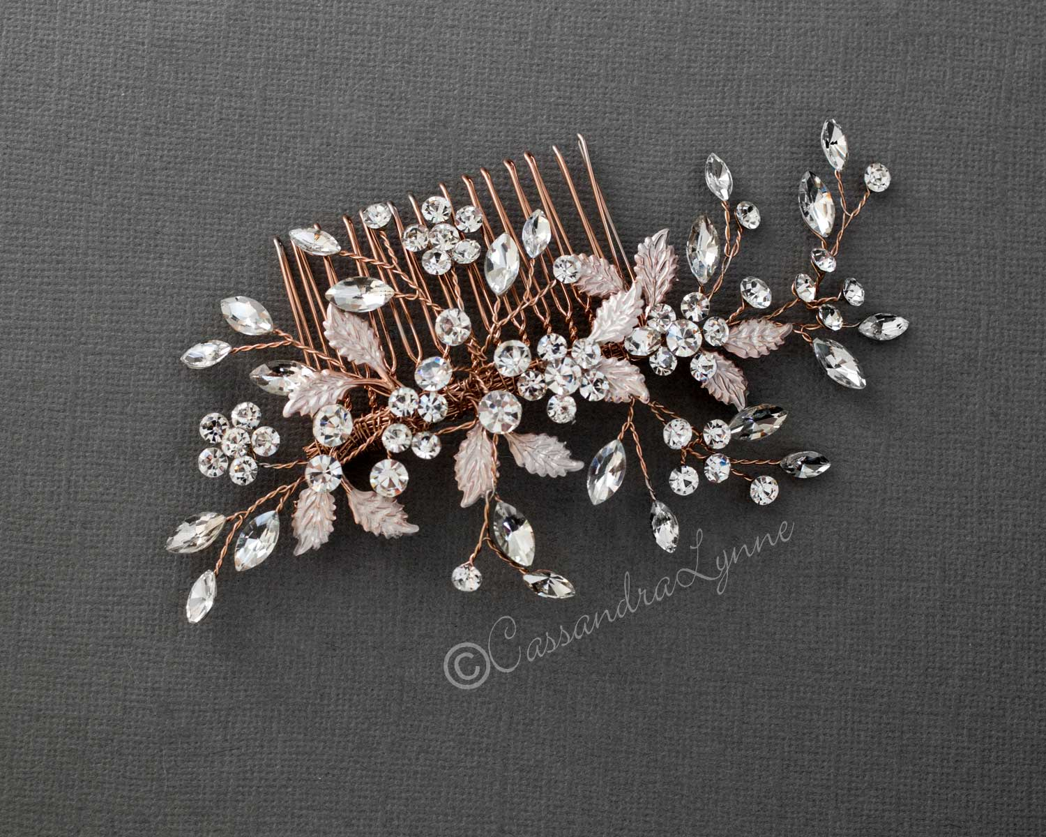 Leafy Bridal Hair Comb with Crystals