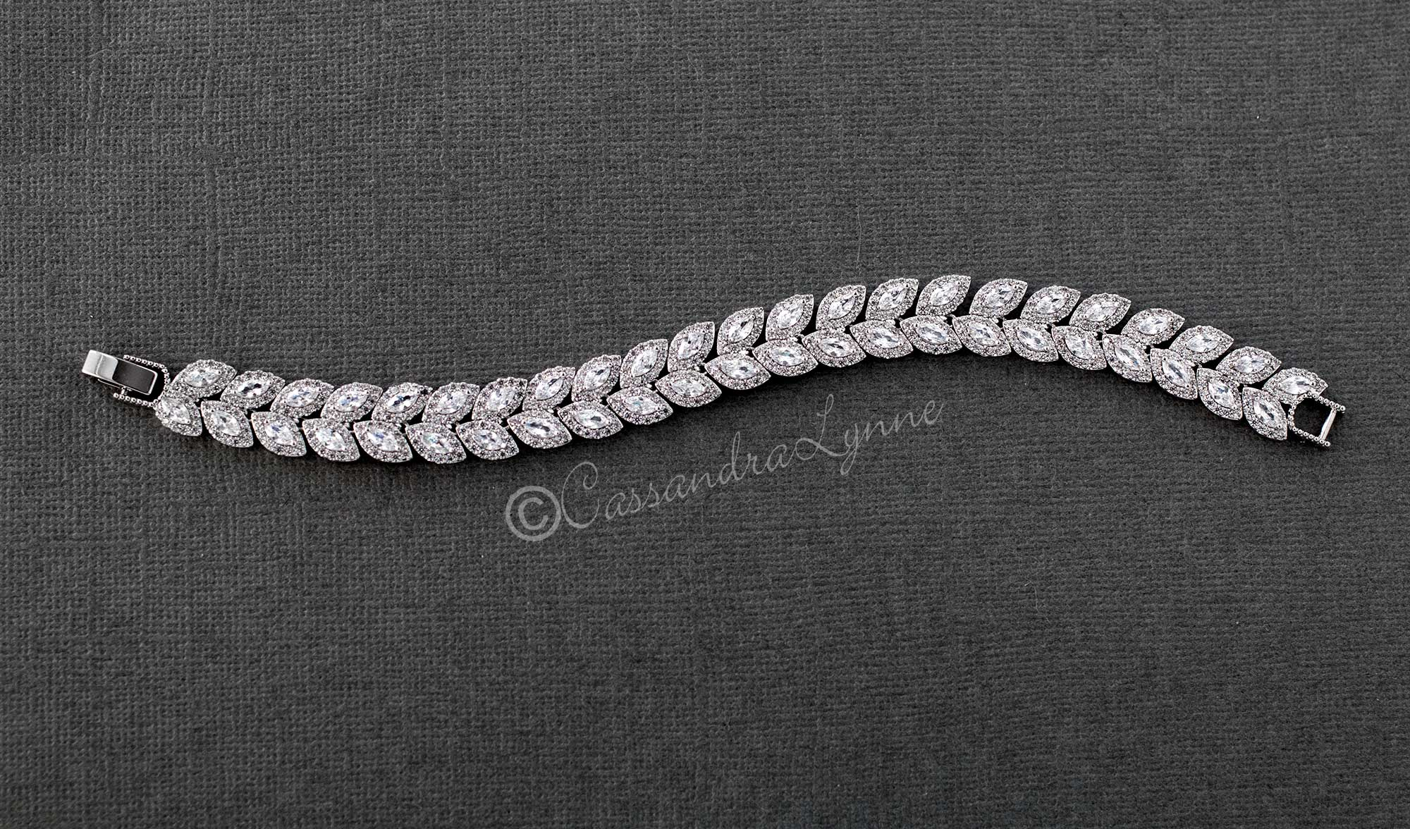 Cubic Zirconia Pave Set Leaves Bracelet