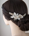 Bridal Headpiece of Light Gold and Jeweled Leaves