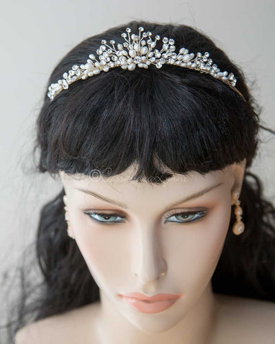 Light Gold Pearl Wedding Tiara