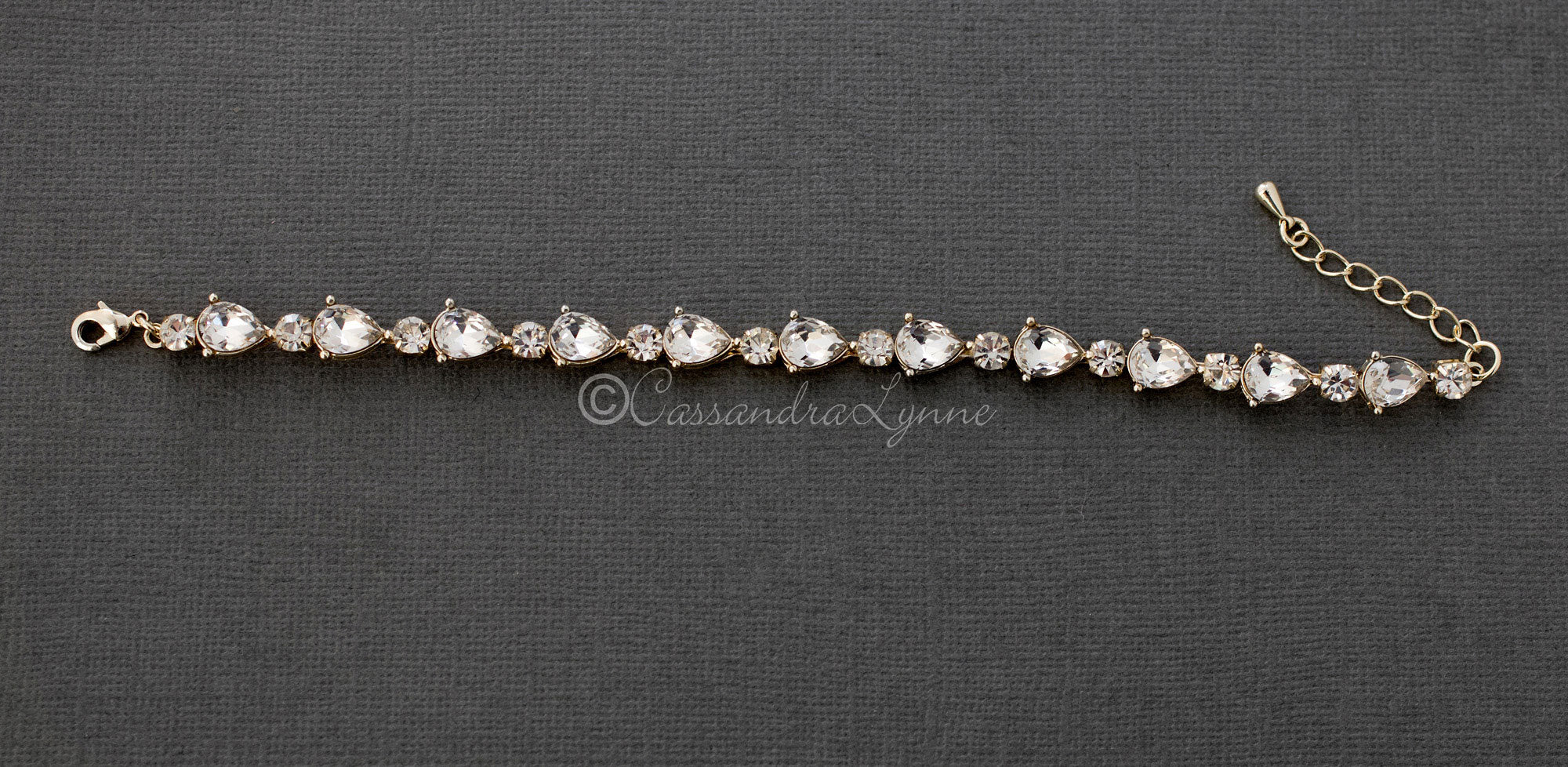 Light Gold Crystal Bridal Bracelet