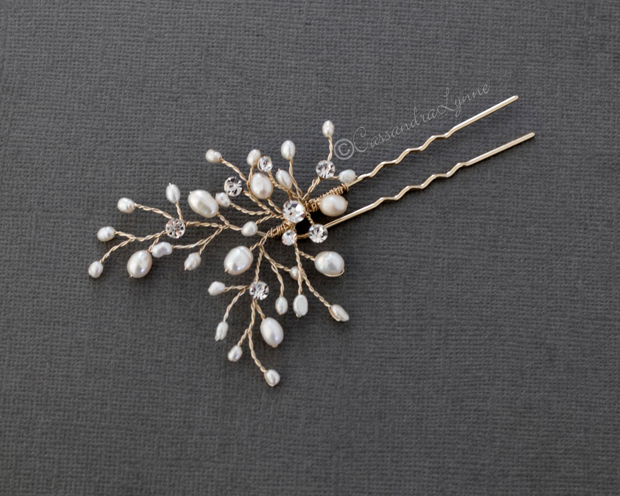 Ivory Pearl and Crystal Bridal Hair Pin