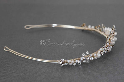 Light Gold Pearl Wedding Tiara for the bride
