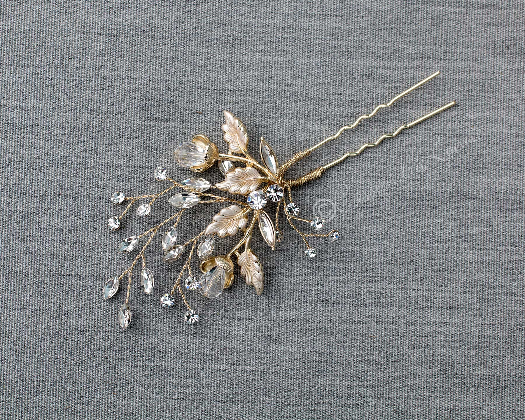 Crystal Flower Buds Wedding Hair Pin