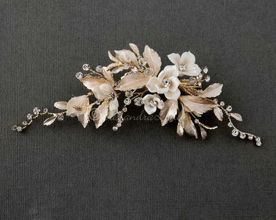 Porcelain Flower Wedding Hair Clip