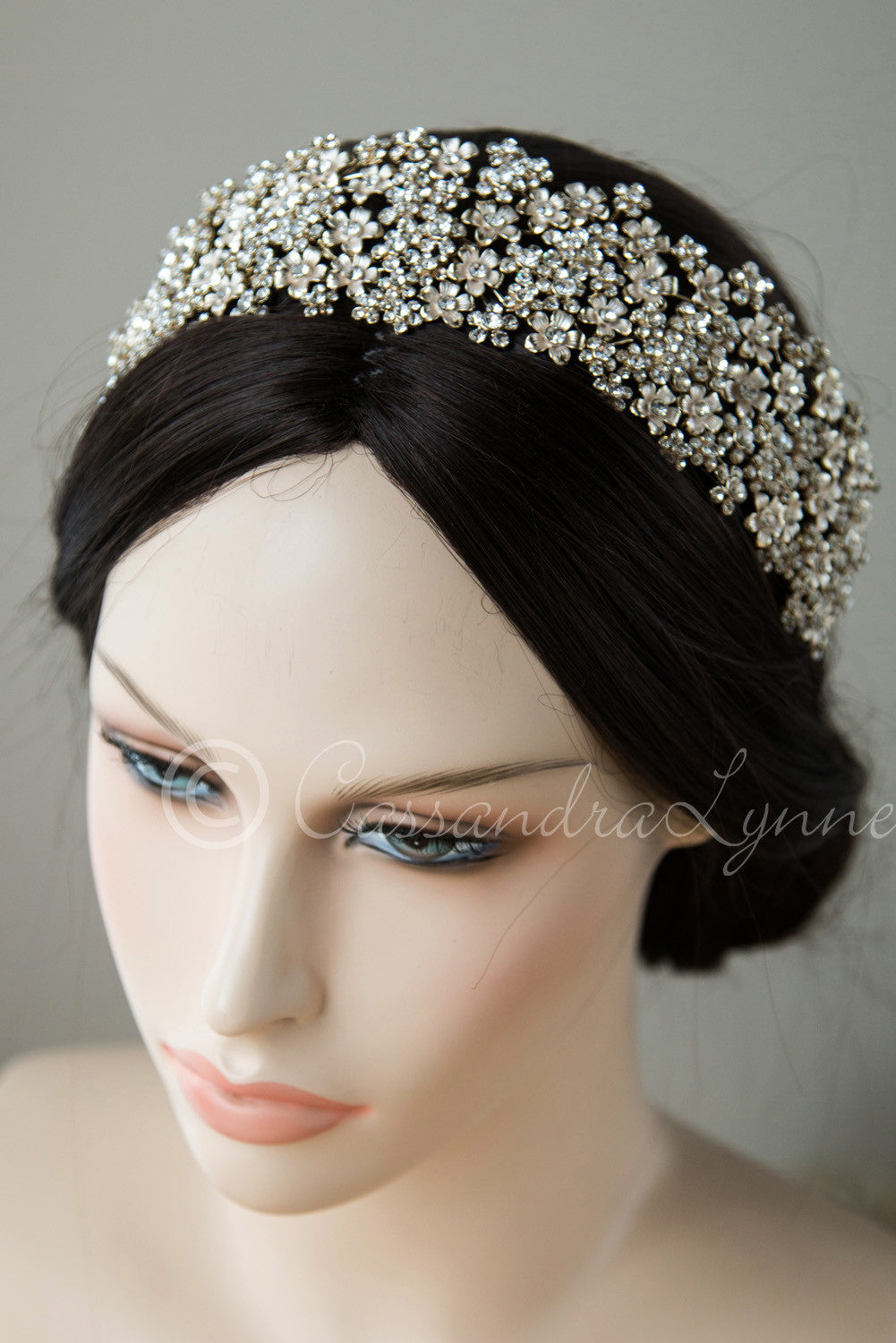 Wide Wedding Headpiece of Frosted Flowers