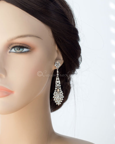 Crystal Earrings with Baguette and Marquise Stones