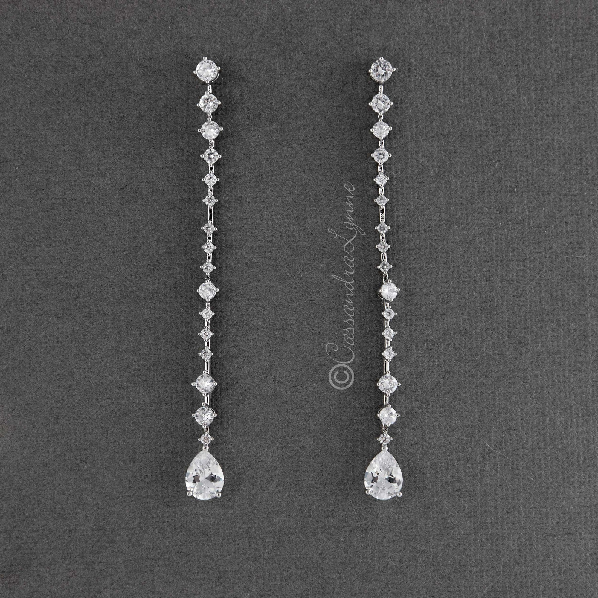 Long CZ Dangle Earrings for the Bride