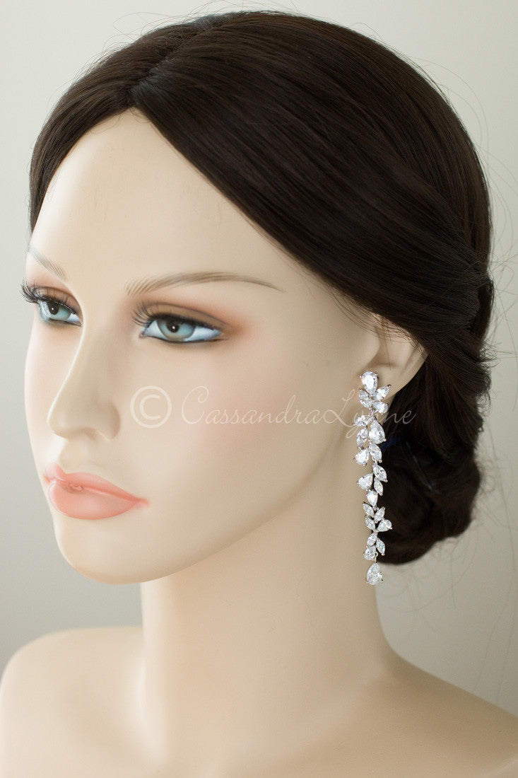 Bridal Earrings of Teardrop and Marquise CZ