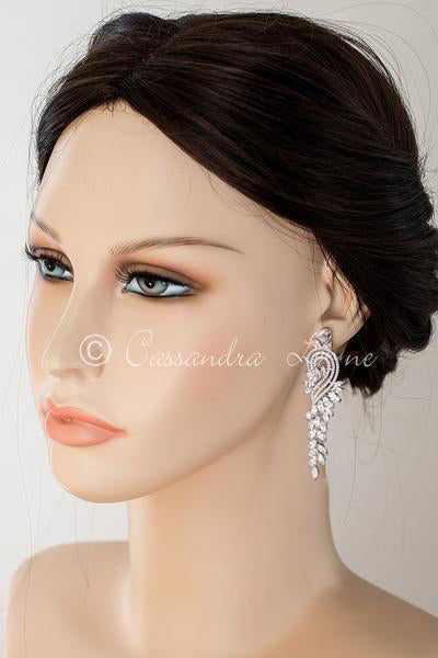 Elegant CZ Earrings with Leaf Drape and Swirl Short