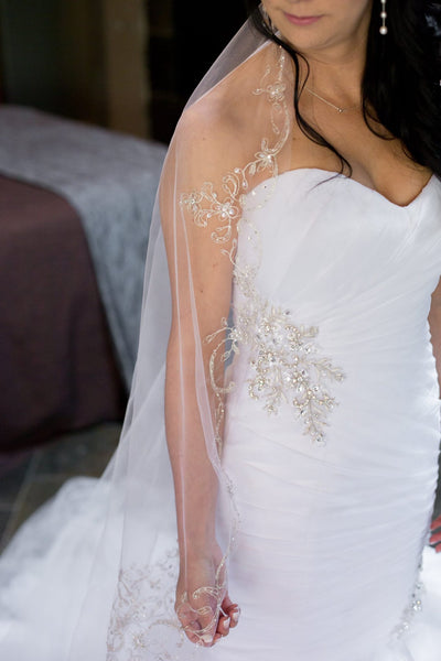 Mantilla Bridal Veil with Silver Embroidery Sequins and Rhinestones