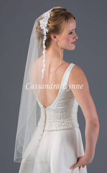 Mantilla Bridal Veil with Lace on Top