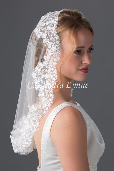 Mantilla Veil with Wide Lace Trim Church