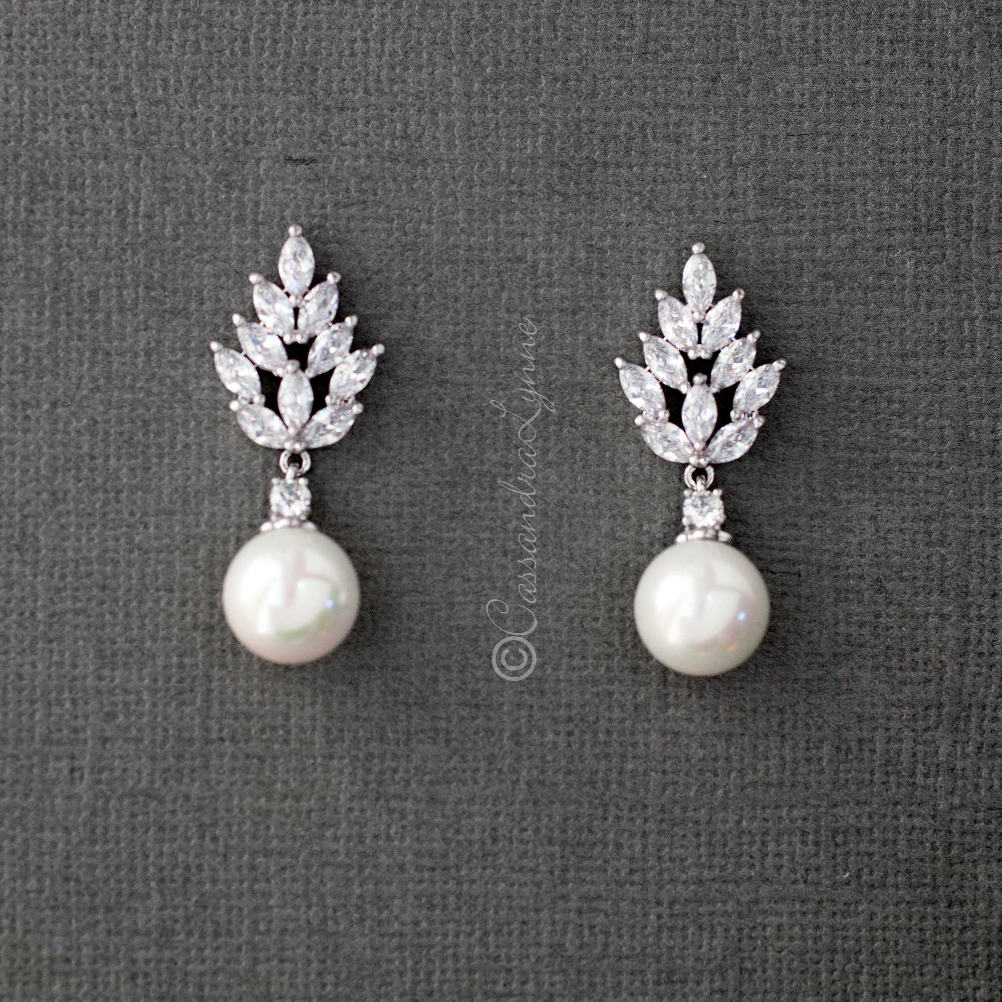 Vintage Pearl and CZ Bridal Earrings