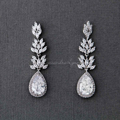 CZ Vine Pear Drop Wedding Earrings
