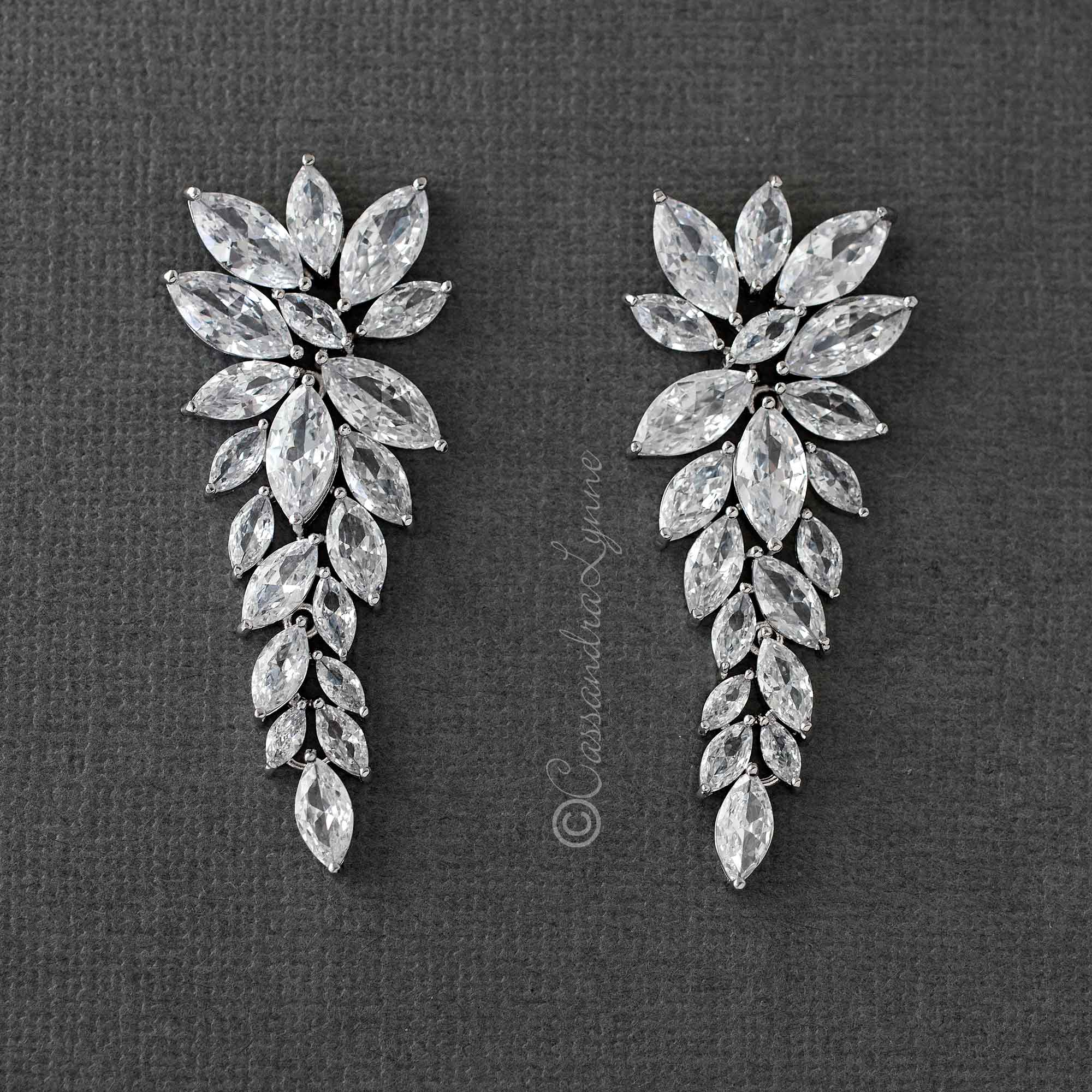 CZ Bridal Earrings of Leaf Clusters