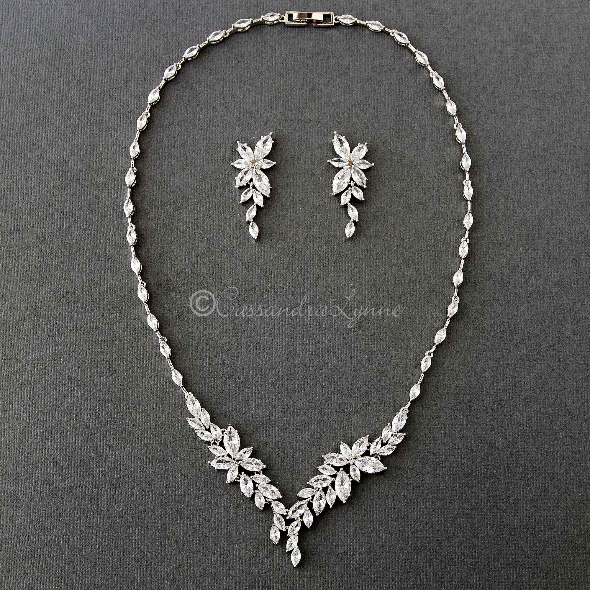 Intricate CZ Leaf Bridal Necklace Set