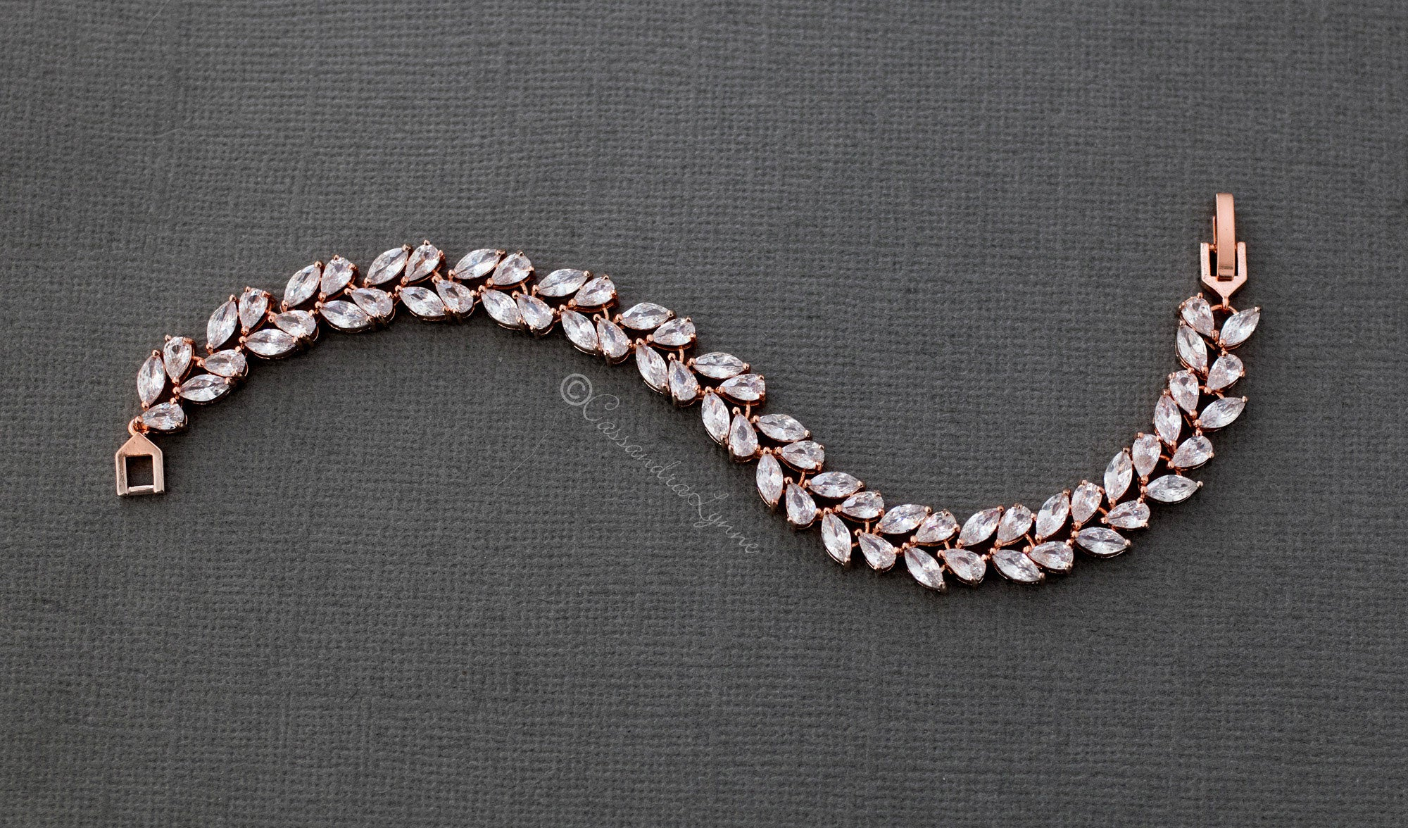 Marquise Leaf and Pear CZ Bracelet