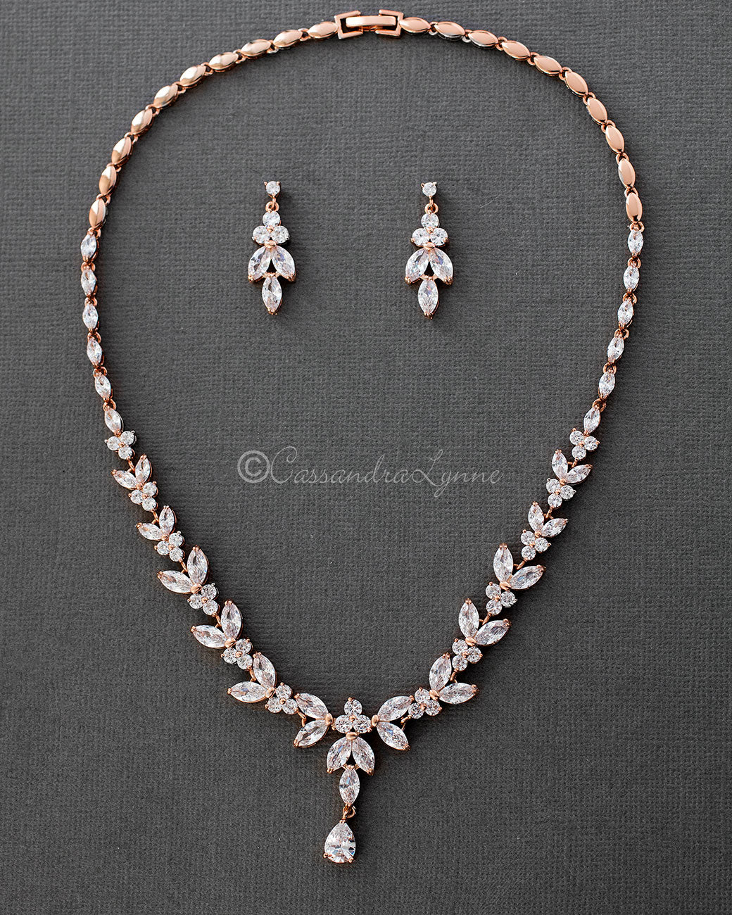 Marquise Leaf Bridal Necklace and Earrings Rose Gold