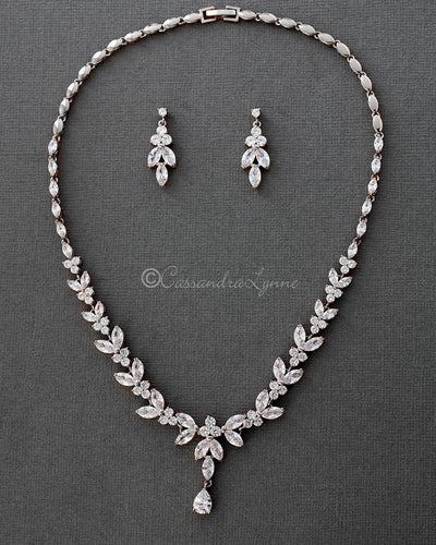 Marquise Leaf Bridal Necklace and Earrings Silver