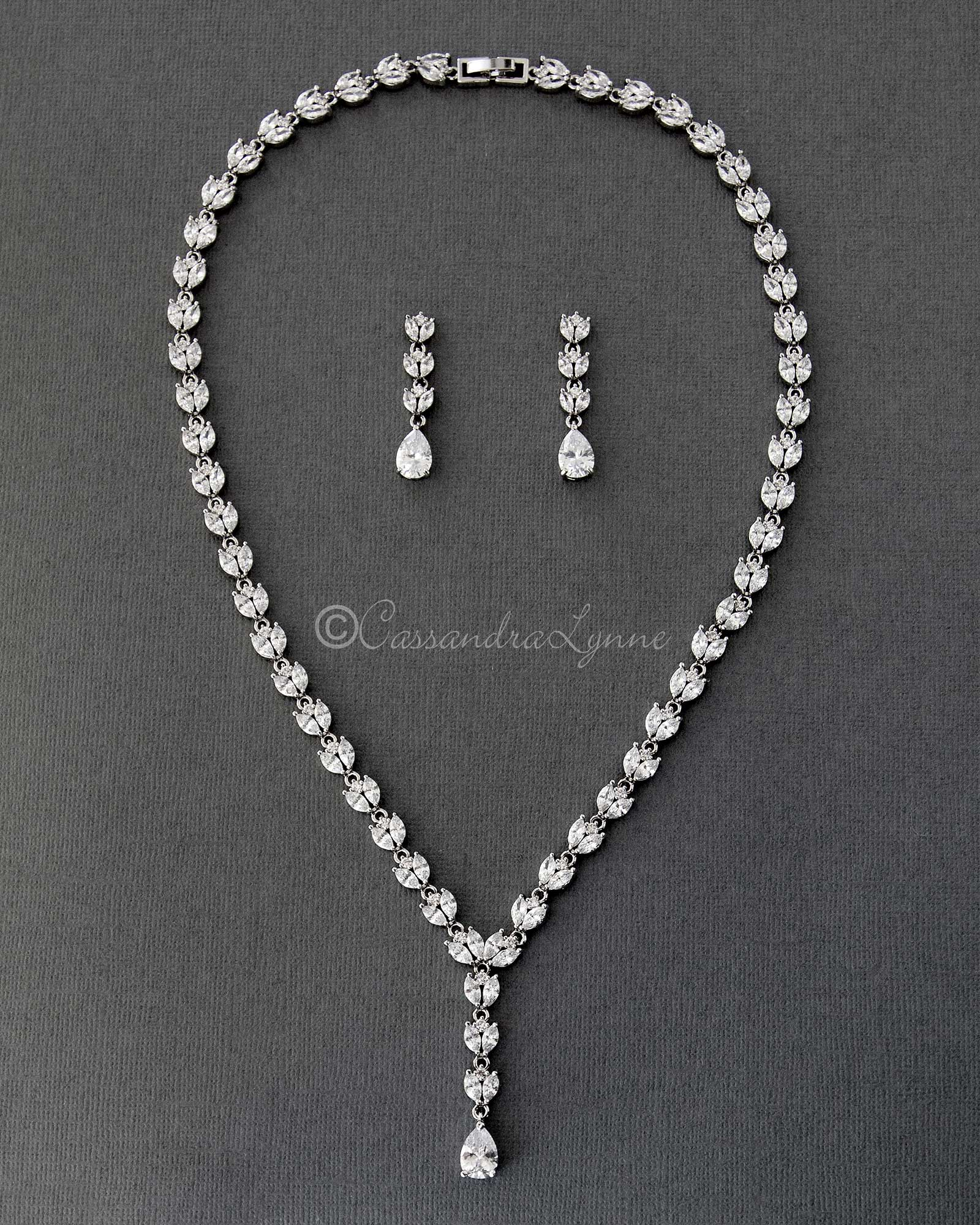 Marquise CZ Bridal Necklace Set