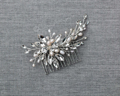 Marquise Spray Bridal Comb with Pearls