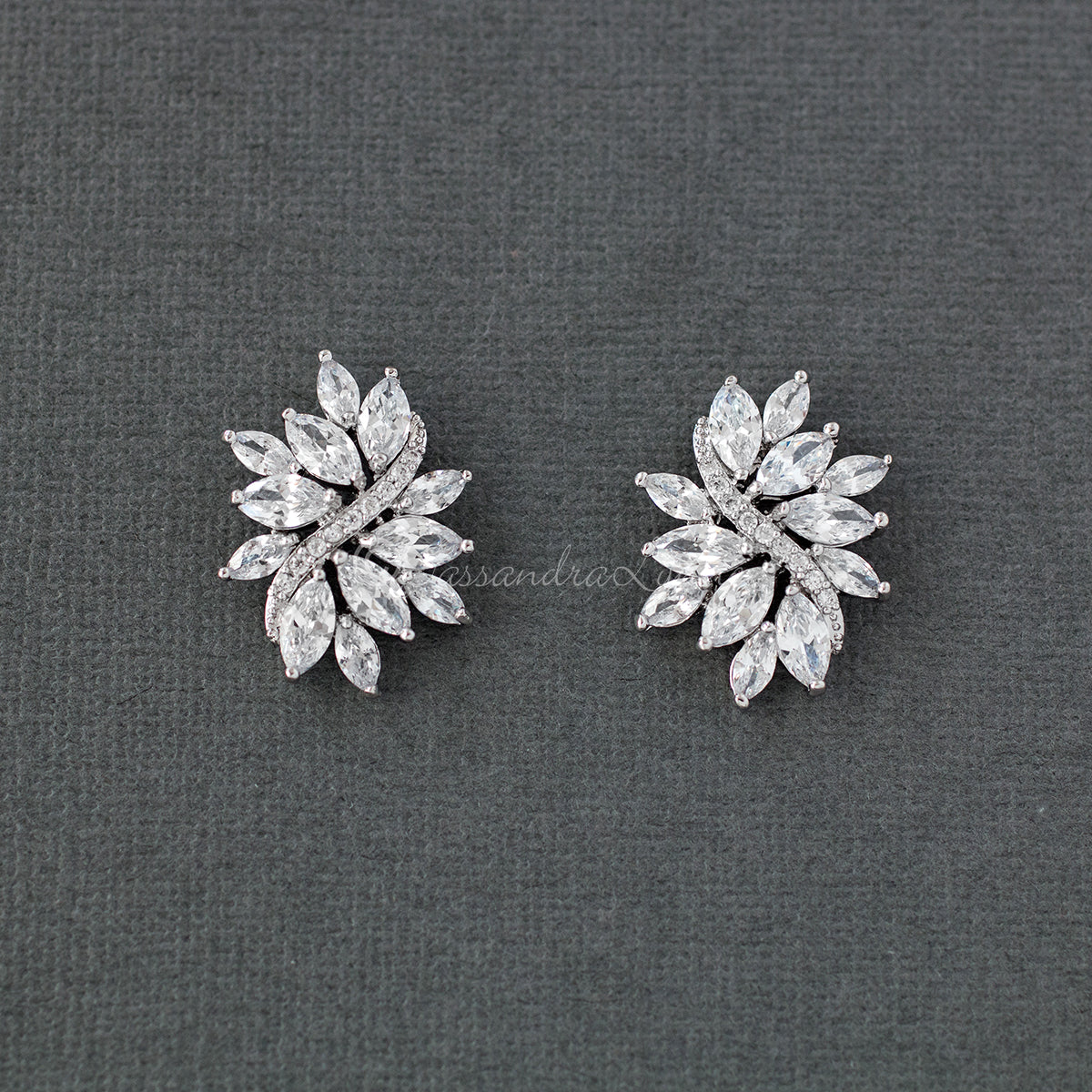 Clip-On Marquise Cubic Zirconia Bridal Earrings