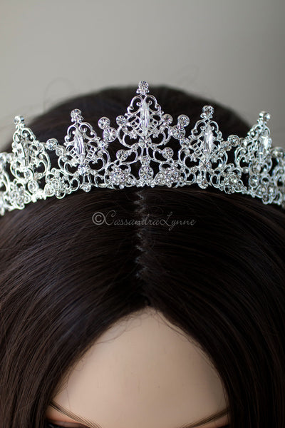 Filigree Bridal Crown with Marquise Jewels