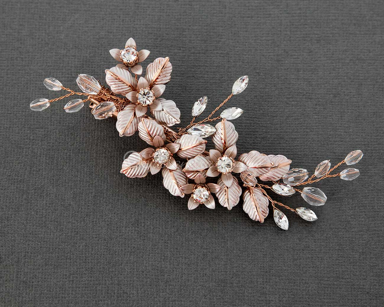 Petite Crystal Bridal Hair Clip of Brushed Metal Flowers