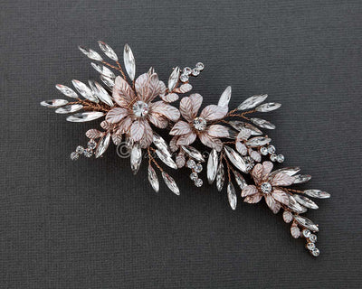 Crystal Rose Gold Wedding Hair Clip