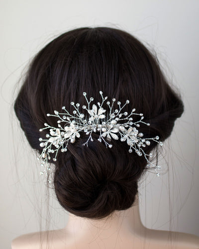 Bridal Hair Comb of Matte Silver Leaves and Pearls