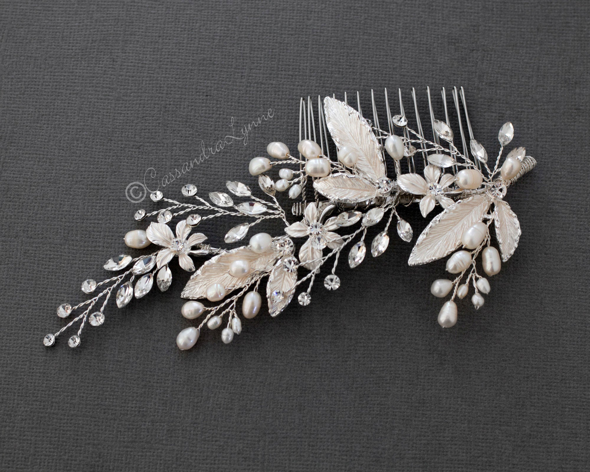 Freshwater Pearls Leaves Wedding Hair Comb
