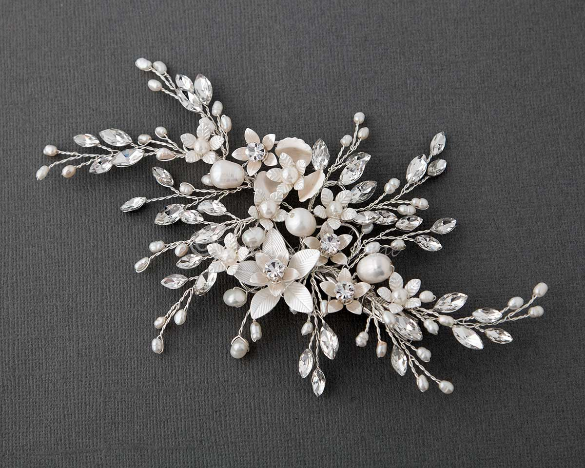 Bridal Hair Clip with Marquise and Pearl Sprays Silver