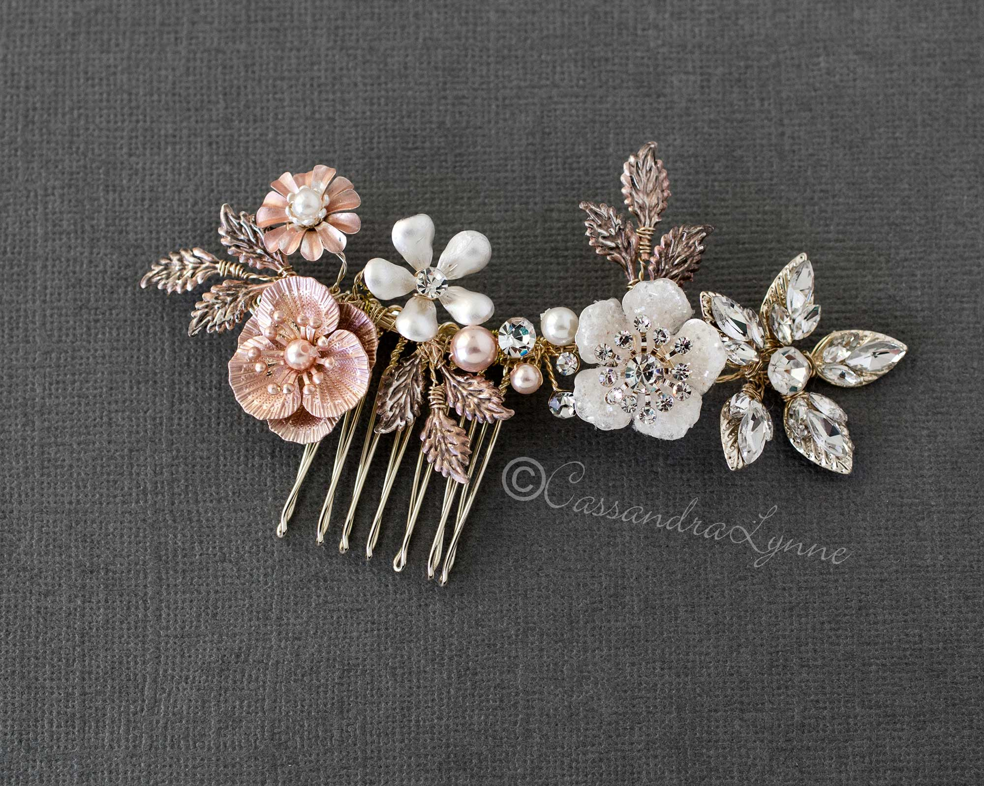 Rose Gold and Gold Mix Wedding Comb
