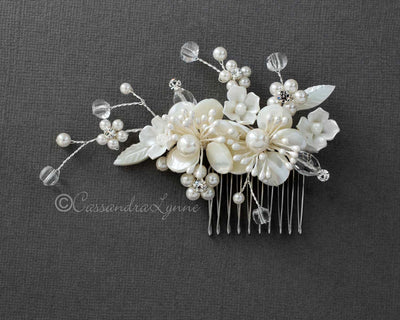 Beach Wedding Comb of Shell Flowers and Crystal