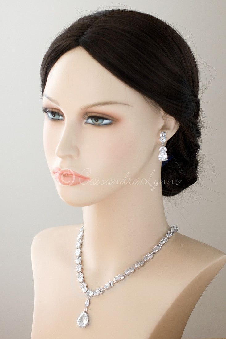 CZ Necklace and Earrings Set with Pear Drop