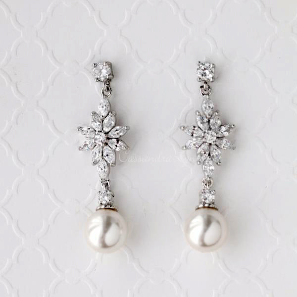Cubic Zirconia Pearl Drop Floral Earrings
