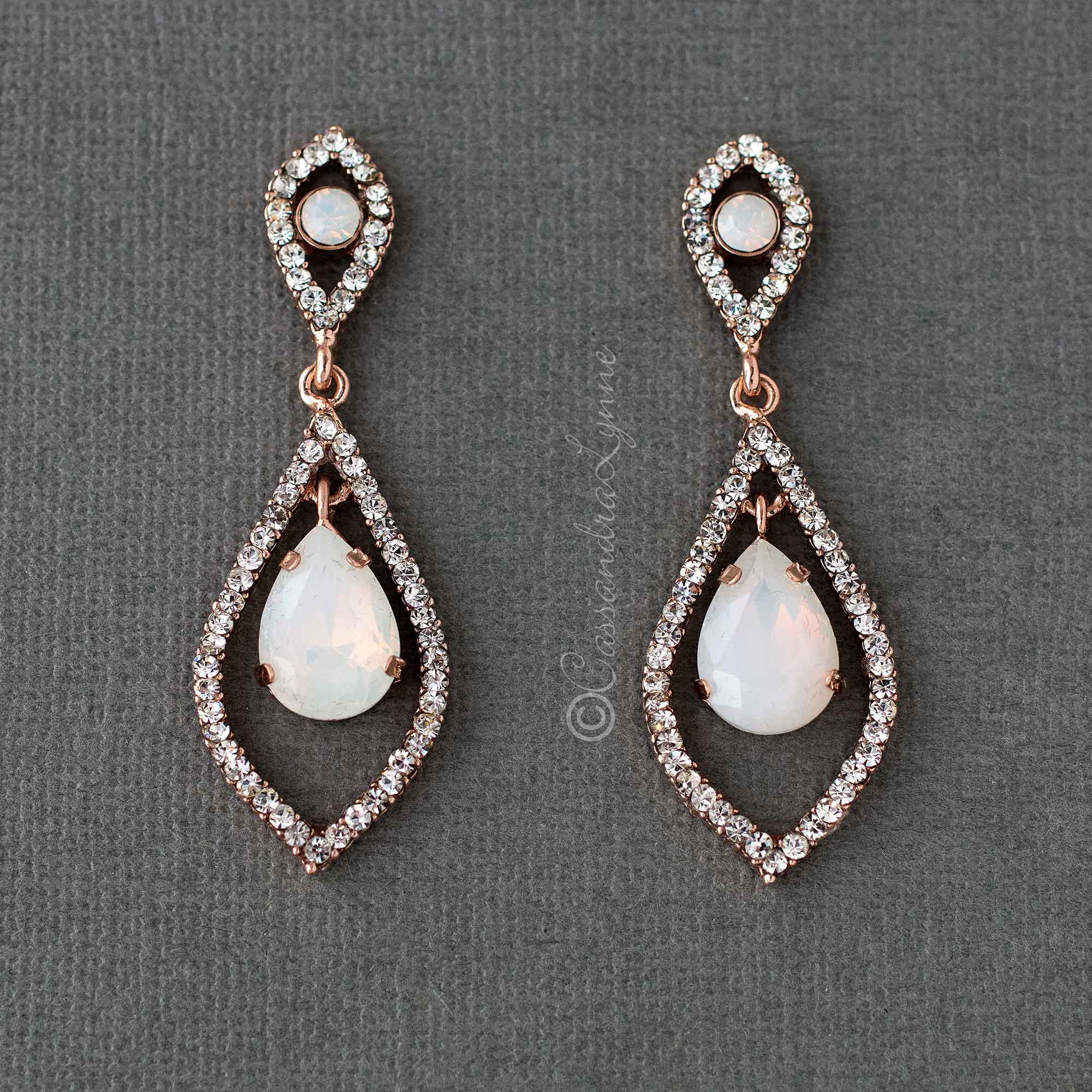 Opalescent Wedding Earrings in Rose Gold