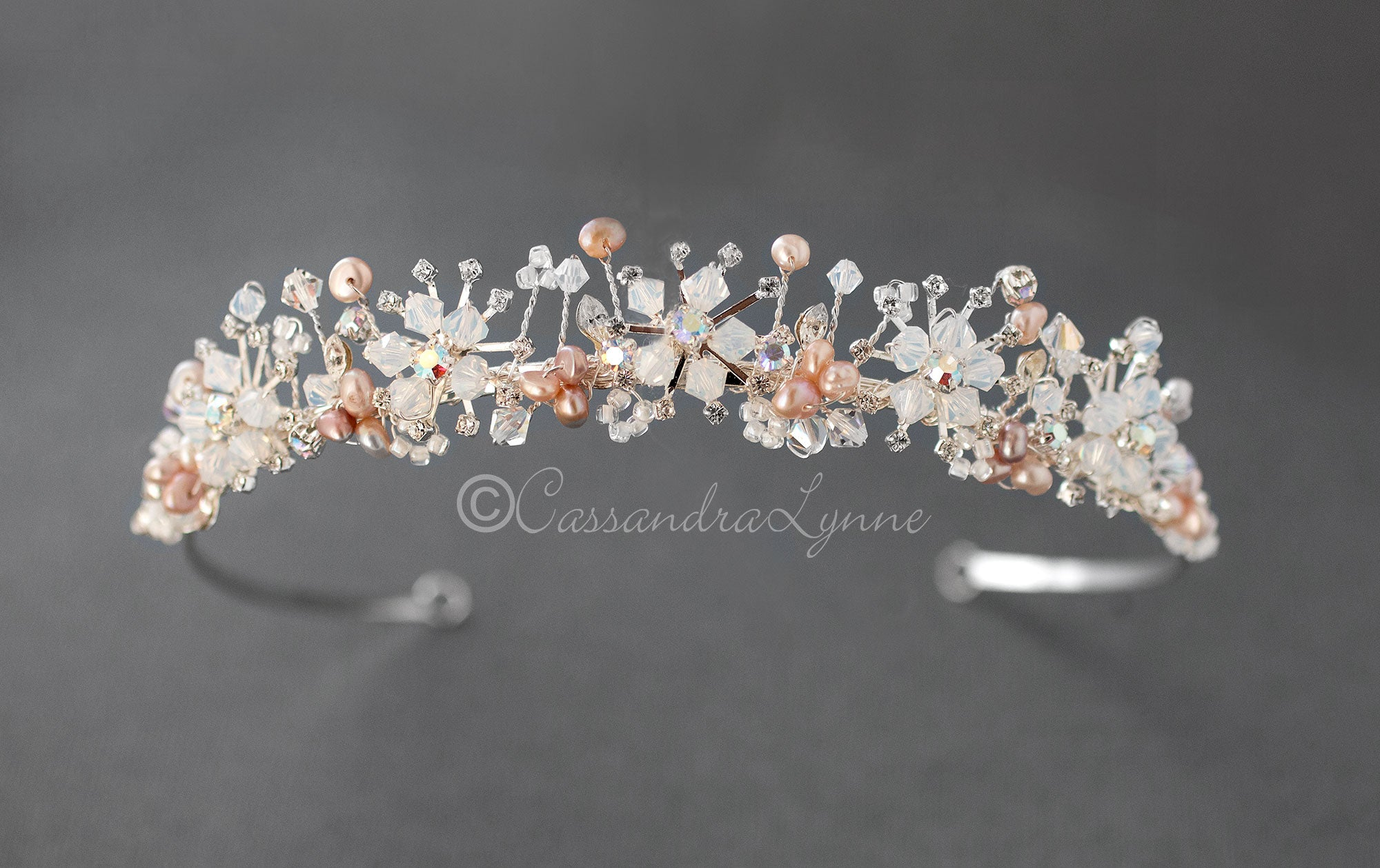 Bridal Tiara of Opal Crystal and Pink Pearls