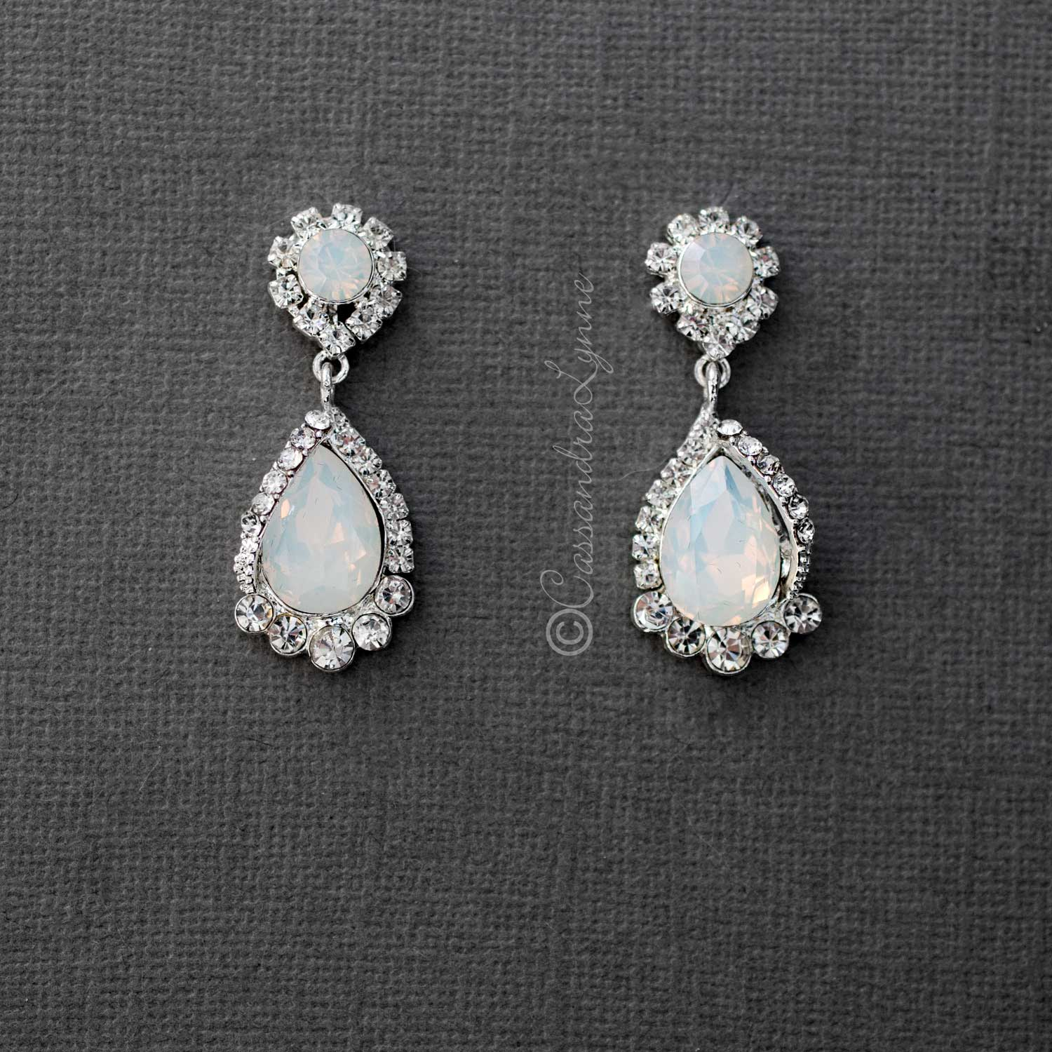 Silver Wedding Earrings with Opal Moonstone