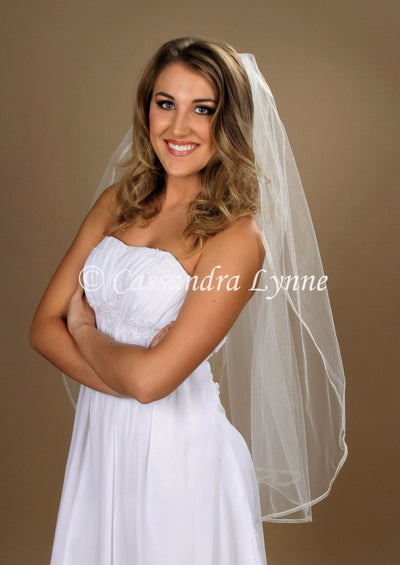 Fingertip Bridal Veil with Narrow Sheer Ribbon