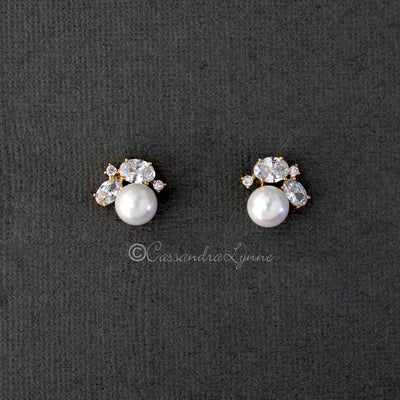 Pearl Stud Earrings with Oval CZ Gold