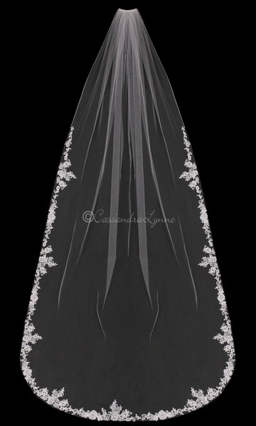 Cathedral Veil with Partial Pearl Appliques