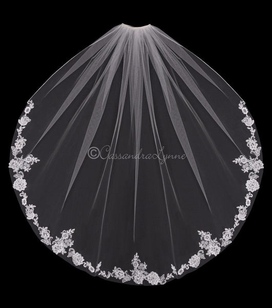 Fingertip Veil with Partial Pearl Appliques