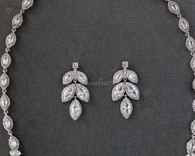 Bridal Necklace Earring Set of Pave Marquise Leaf Crystals