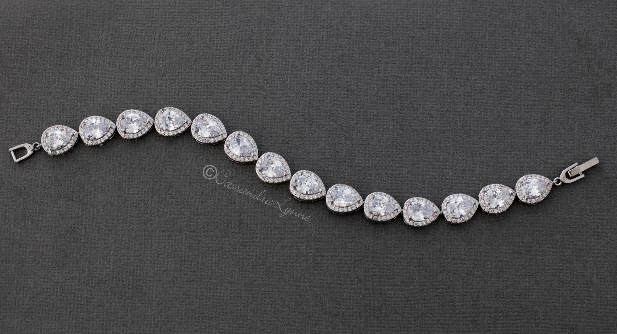 Bridal Bracelet of Teardrop Pave Set CZ