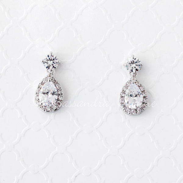 CZ Water Drop Earrings
