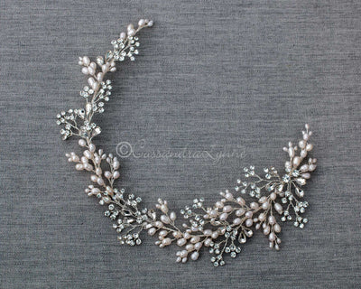 Hair Vine of Pearls and Pear Cut Crystals