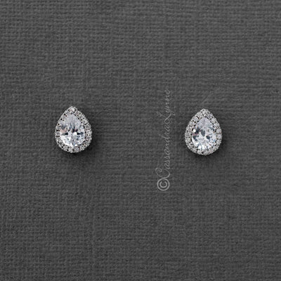 Pave Pear Stud CZ Bridal Earrings